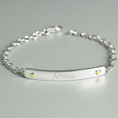 Personalised Sterling Silver and 9ct Gold Bar Bracelet - Shop Personalised Gifts