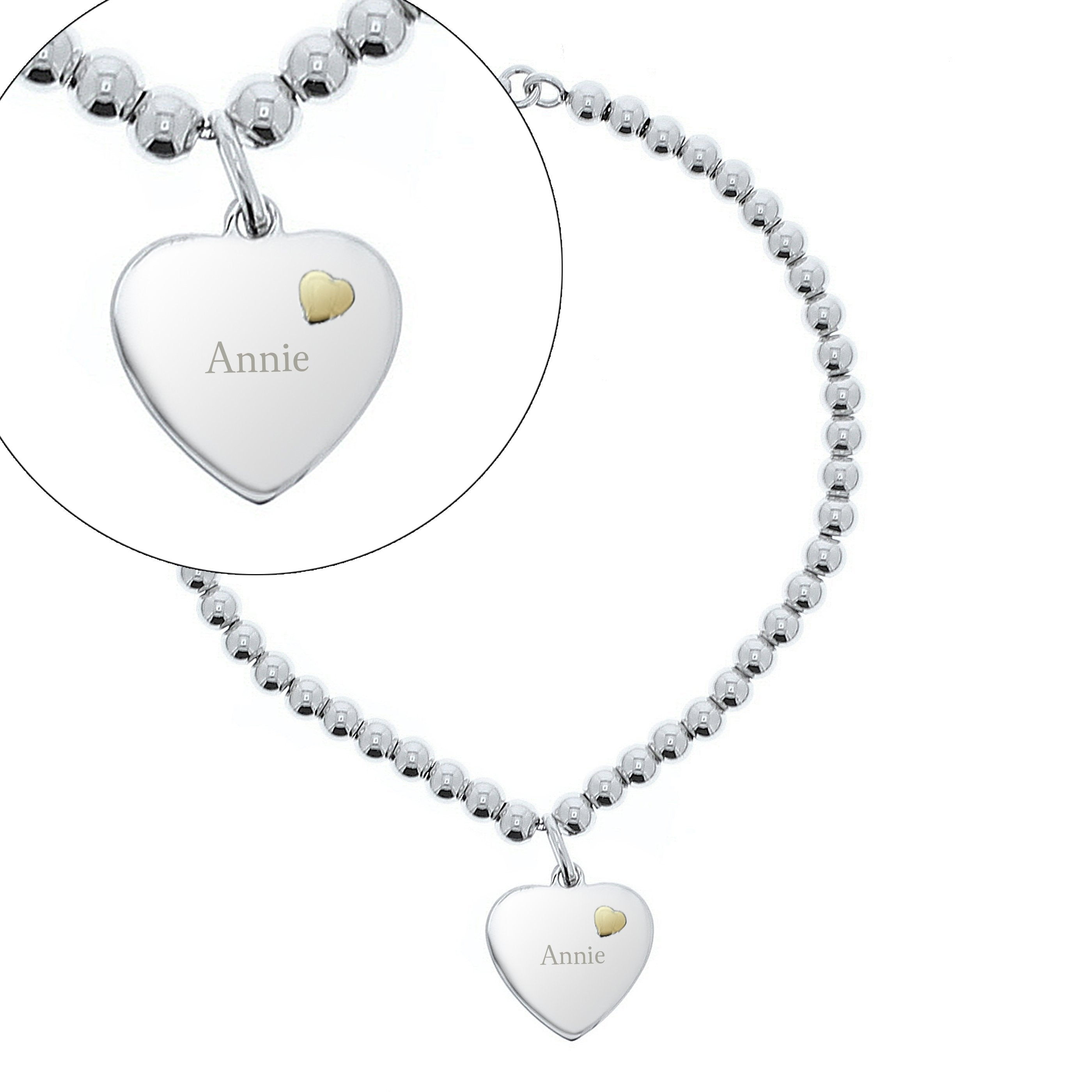 Personalised Sterling Silver and 9ct Gold Heart Bracelet - Shop Personalised Gifts