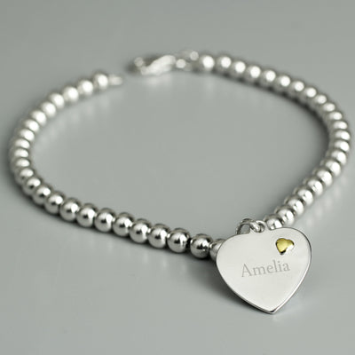 Personalised Sterling Silver and 9ct Gold Heart Bracelet - Personalised Books-Personalised Gifts-Baby Gifts-Kids Books