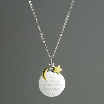 Personalised Moon and Stars Sterling Silver Necklace - Shop Personalised Gifts