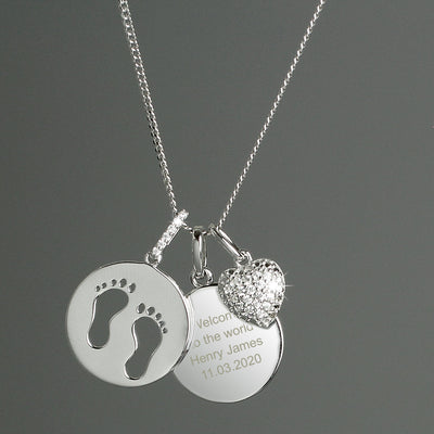 Personalised Sterling Silver Footprints and Cubic Zirconia Heart Necklace - Shop Personalised Gifts