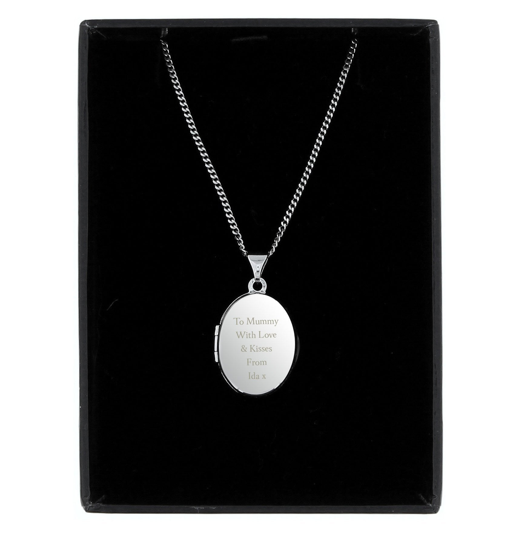 Personalised Sterling Silver Oval Message Locket Necklace - Shop Personalised Gifts (4457617129558)