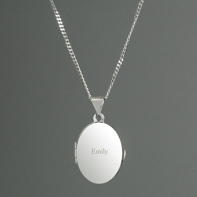 Personalised Sterling Silver Oval Name Locket Necklace - Personalised Books-Personalised Gifts-Baby Gifts-Kids Books