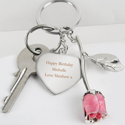 Personalised Silver Plated Pink Rose Keyring - Shop Personalised Gifts