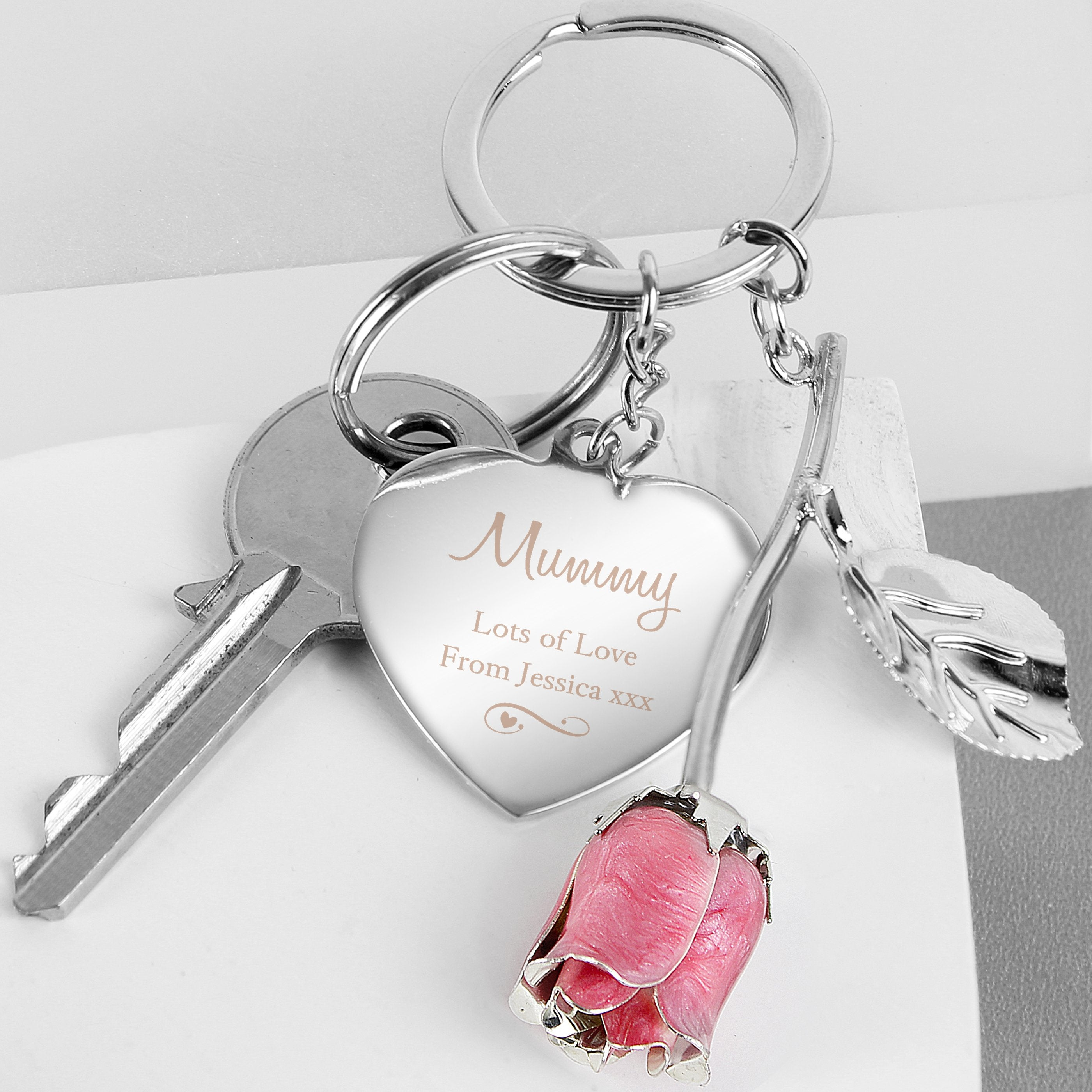 Personalised Silver Plated Swirls and Hearts Pink Rose Keyring - Shop Personalised Gifts