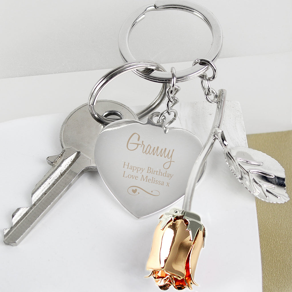 Personalised Silver Plated Swirls & Hearts Rose Gold Rose Keyring - Shop Personalised Gifts
