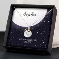 Personalised Sentiment Moon & Stars Sterling Silver Necklace and Box - Shop Personalised Gifts