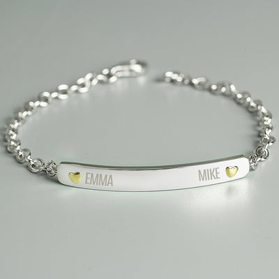 Personalised Two Names Sterling Silver and 9ct Gold Bar Bracelet - Shop Personalised Gifts
