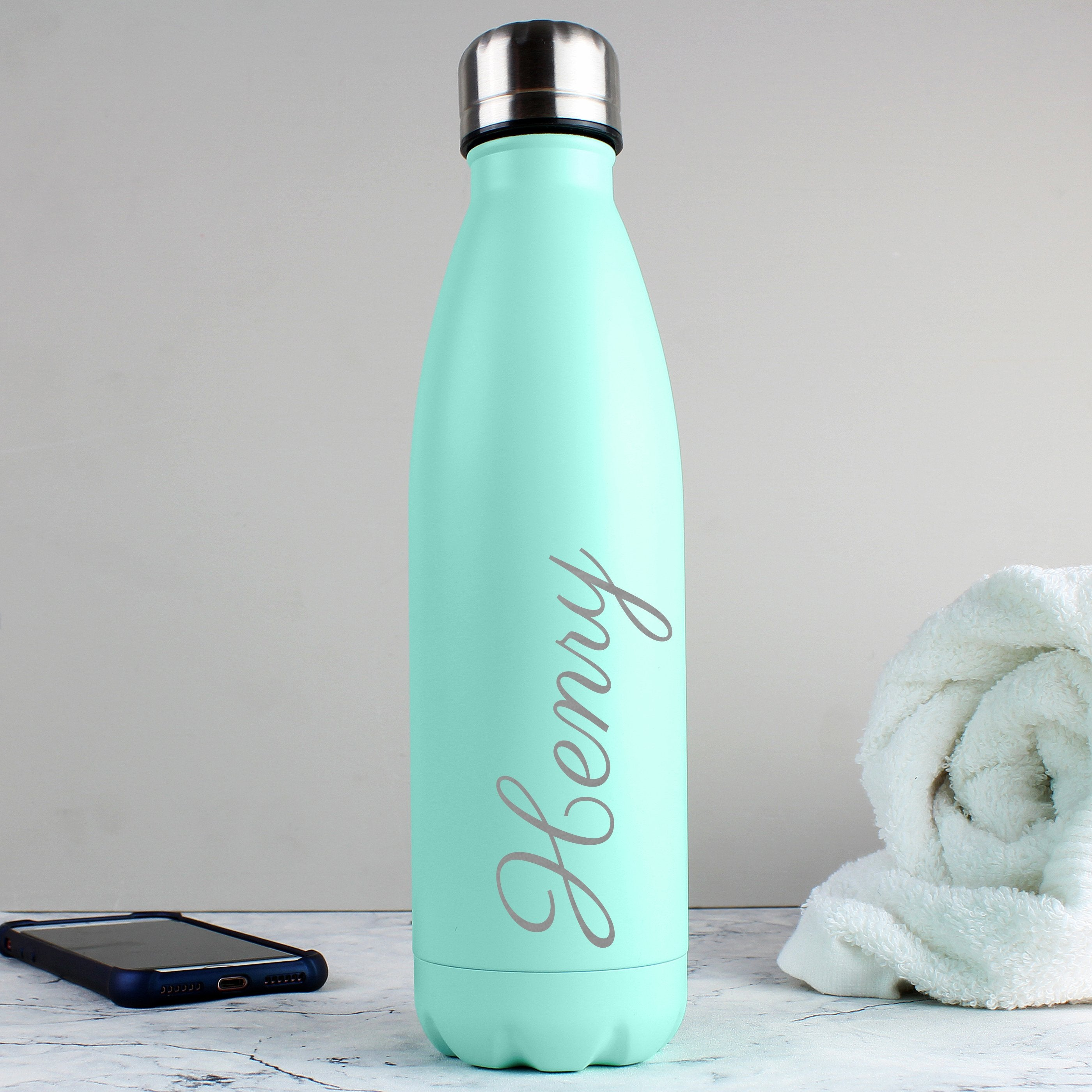 Personalised Mint Green Metal Insulated Drinks Bottle - Shop Personalised Gifts