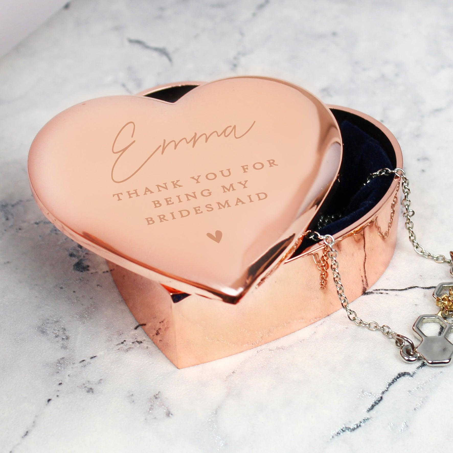 Personalised Free Text Rose Gold Heart Nickel Plated Trinket Box