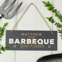 "Personalised ""Barbeque Grill Master"" Printed Hanging Slate Plaque - Shop Personalised Gifts"