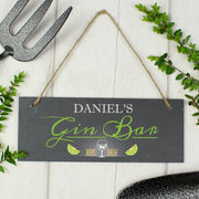 "Personalised ""Gin Bar"" Printed Hanging Slate Plaque - Shop Personalised Gifts"