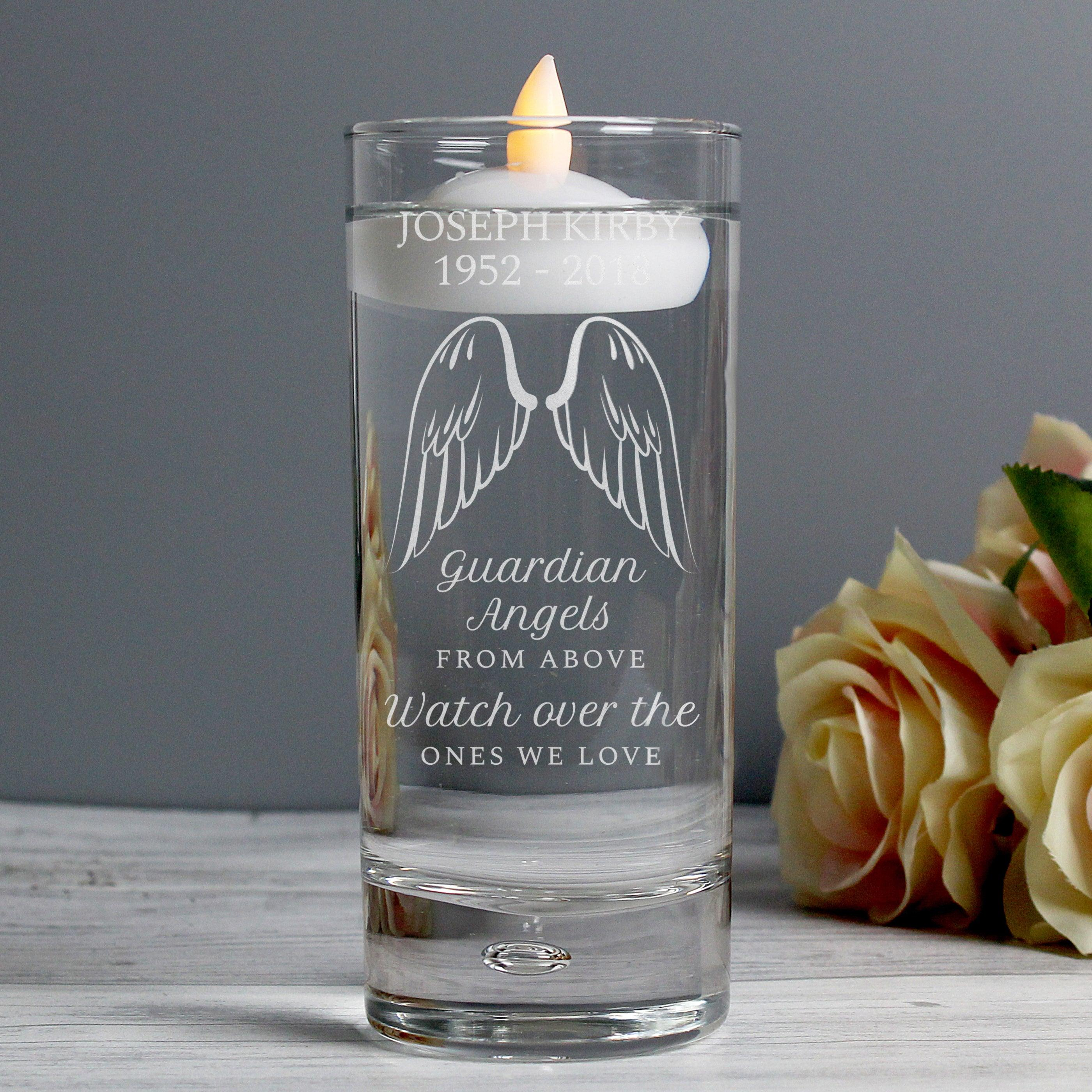 Personalised Guardian Angel Wings Floating Memorial Candle Holder