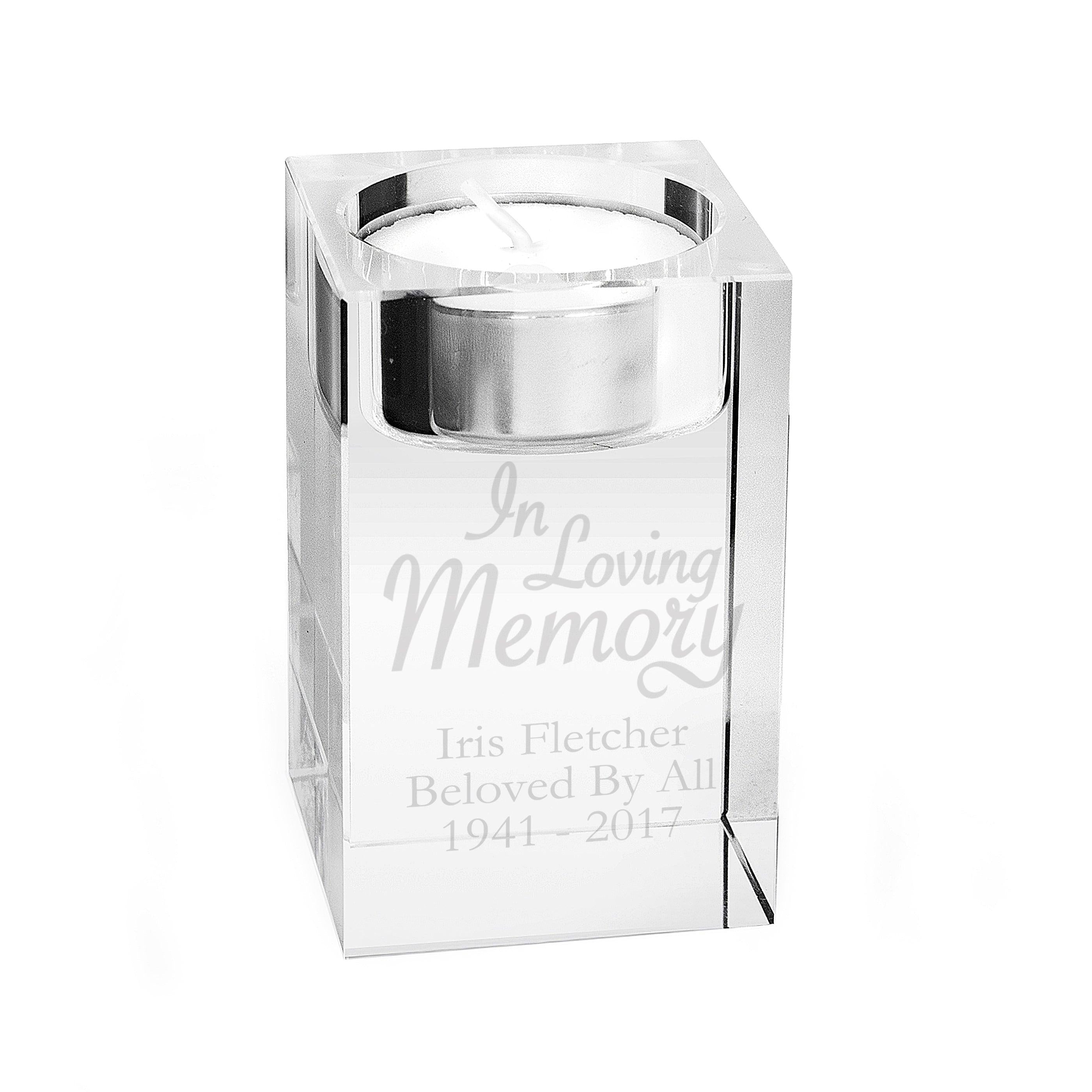 Personalised In Loving Memory Glass Memorial Tea Light Candle Holder (4993389985878)