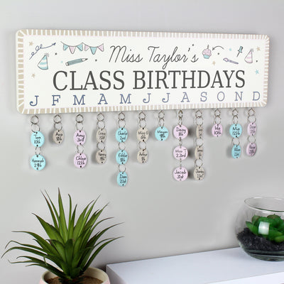 Personalised Classroom Office Birthday Planner Plaque with Customisable Discs - Shop Personalised Gifts