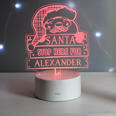 Personalised Santa Stop Here Colour Changing LED Night Light - Shop Personalised Gifts