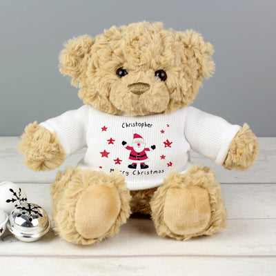 Personalised Spotty Santa Message Christmas Teddy Bear