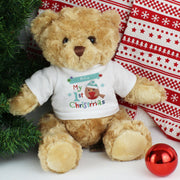 Personalised Felt Stitch Robin My 1st Christmas Teddy Bear - shop-personalised-gifts