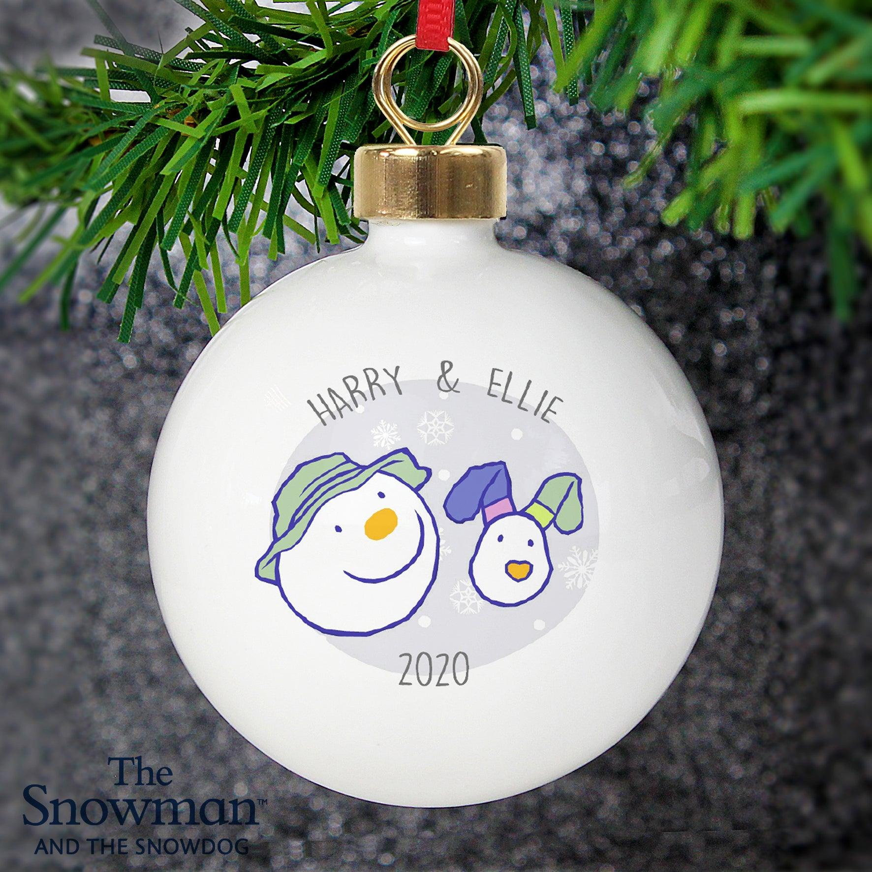 Personalised The Snowman and the Snowdog Bauble