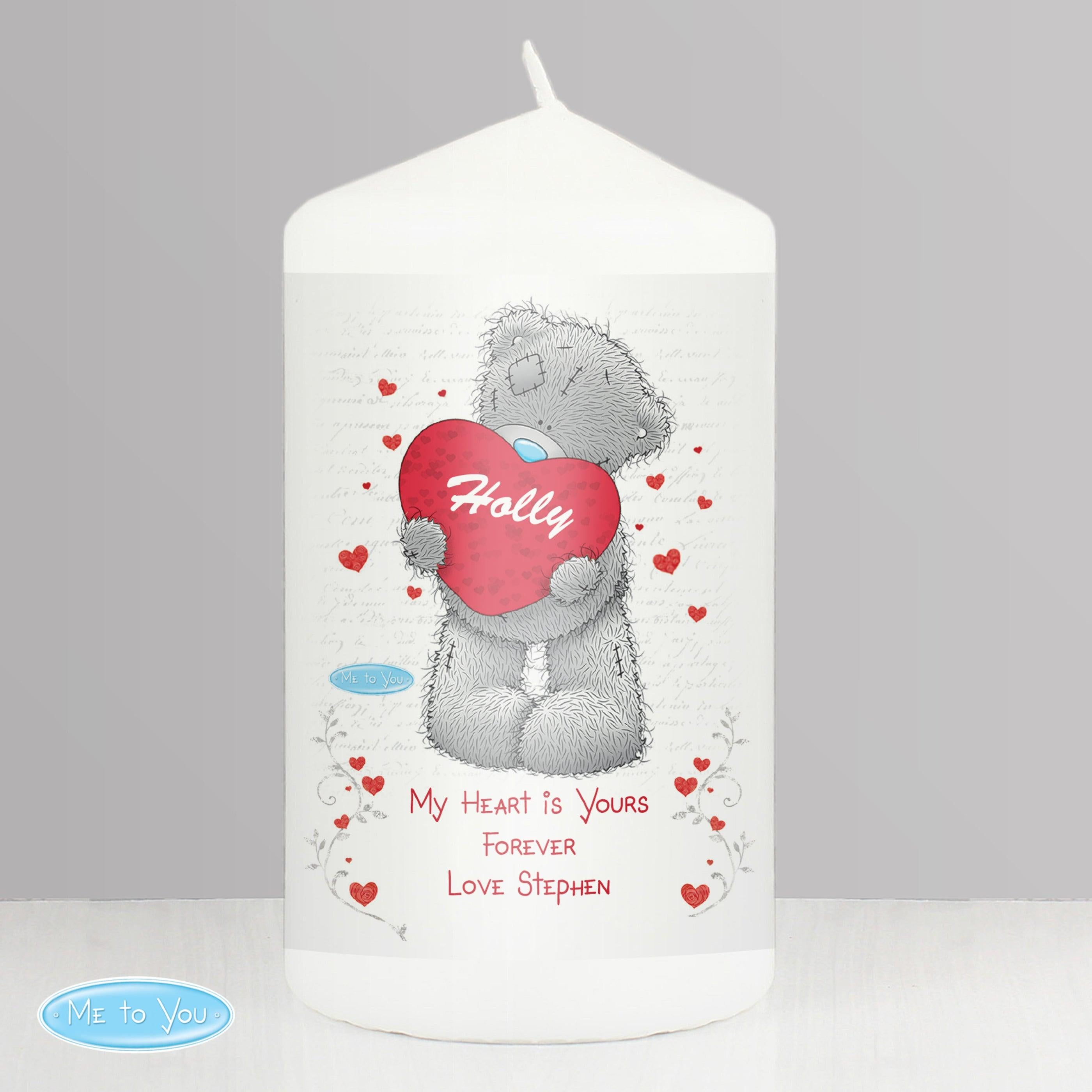 Personalised Me to You Big Heart Wax Pillar Candle