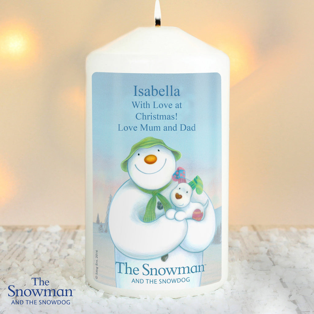 Personalised The Snowman and the Snowdog Pillar Candle - Shop Personalised Gifts