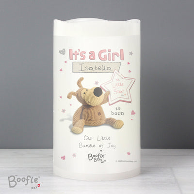 Personalised Boofle It's a Girl Nightlight LED Candle - Shop Personalised Gifts