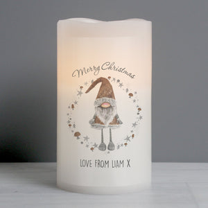 Personalised Scandinavian Christmas Gnome LED Candle - Shop Personalised Gifts