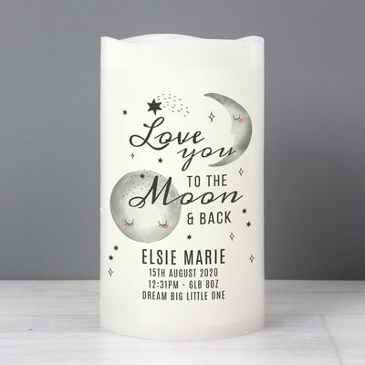 Personalised Baby To The Moon and Back LED Candle - Shop Personalised Gifts