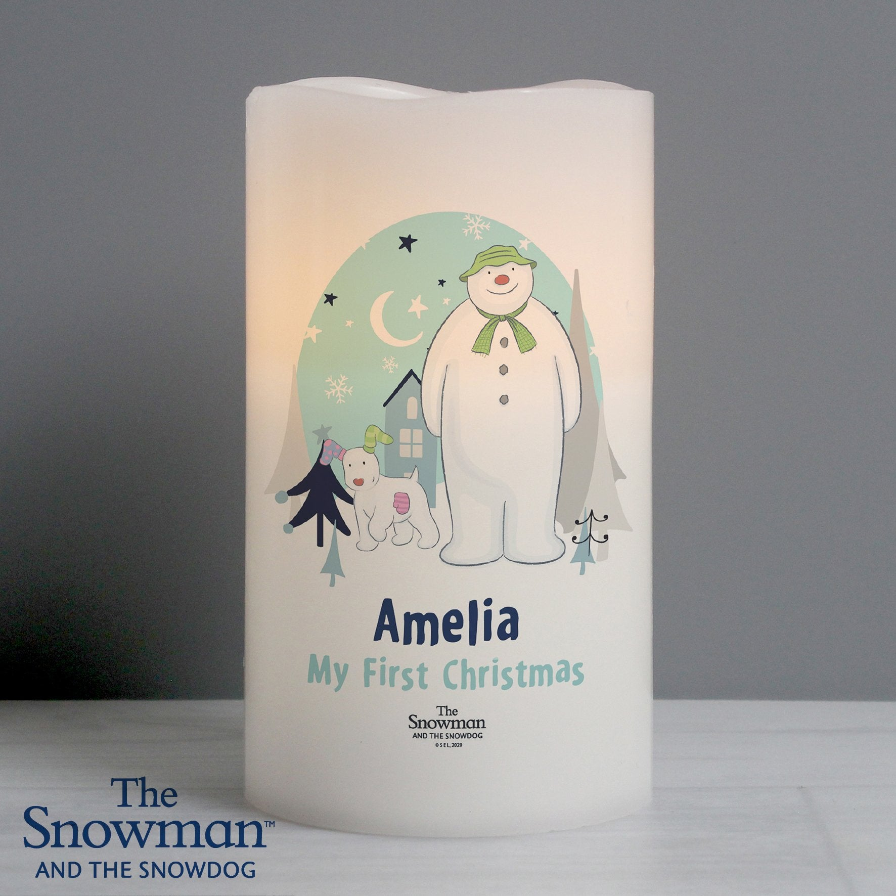 Personalised The Snowman and the Snowdog LED Candle - Shop Personalised Gifts (4855745183830)