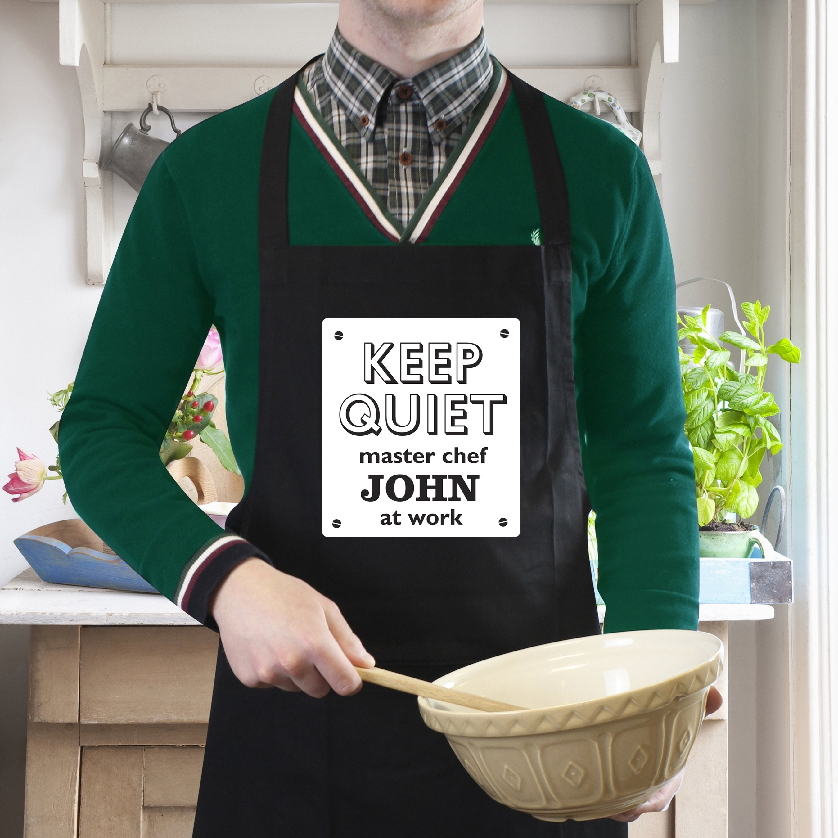 Personalised Keep Quiet Black Apron - Shop Personalised Gifts