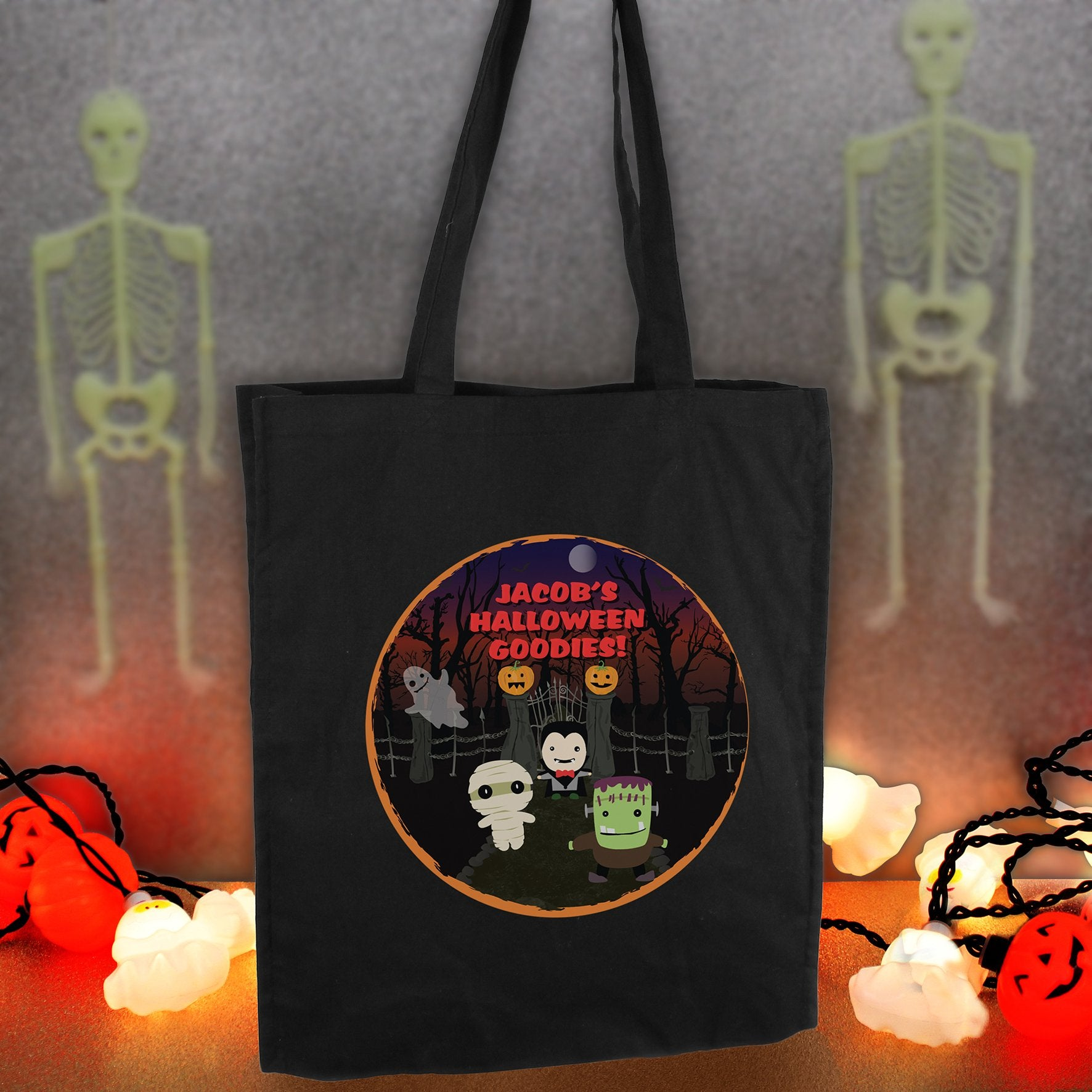 Personalised Halloween Black Cotton Tote Bag Multi Message - Shop Personalised Gifts