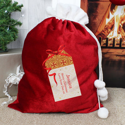 Personalised Gift Tag Luxury Pom Pom Christmas Sack - Personalised Books-Personalised Gifts-Baby Gifts-Kids Books