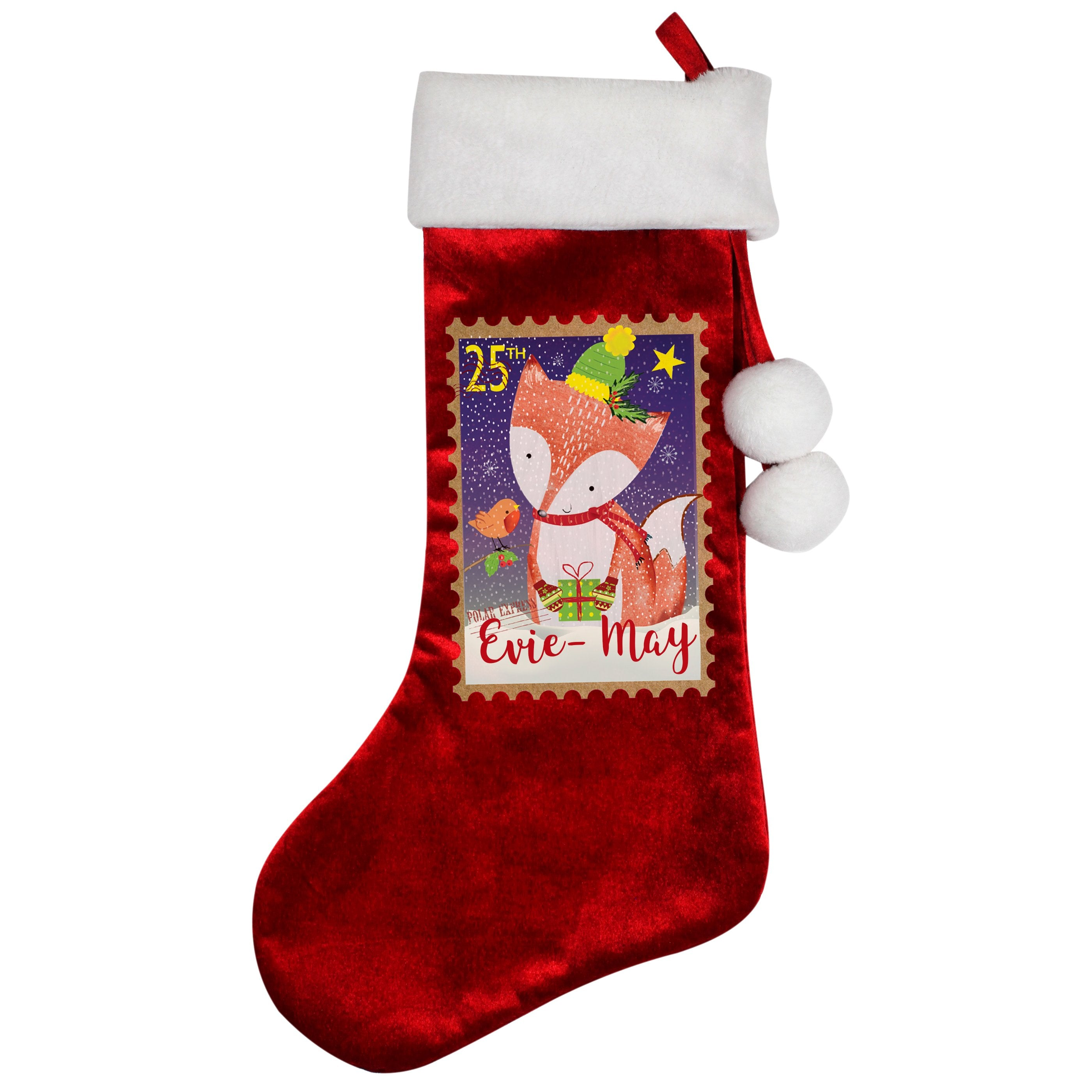 Personalised Festive Fox Luxury Stocking - Shop Personalised Gifts (4860179677270)