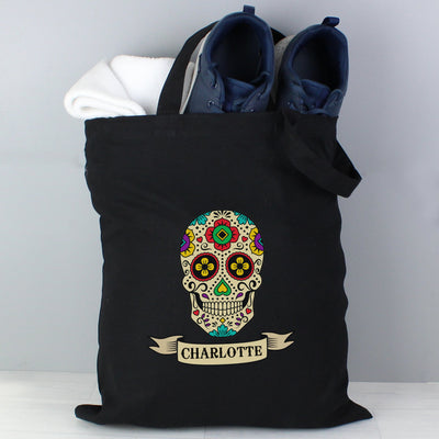 Personalised Halloween Sugar Skull Black Cotton Tote Bag - shop-personalised-gifts