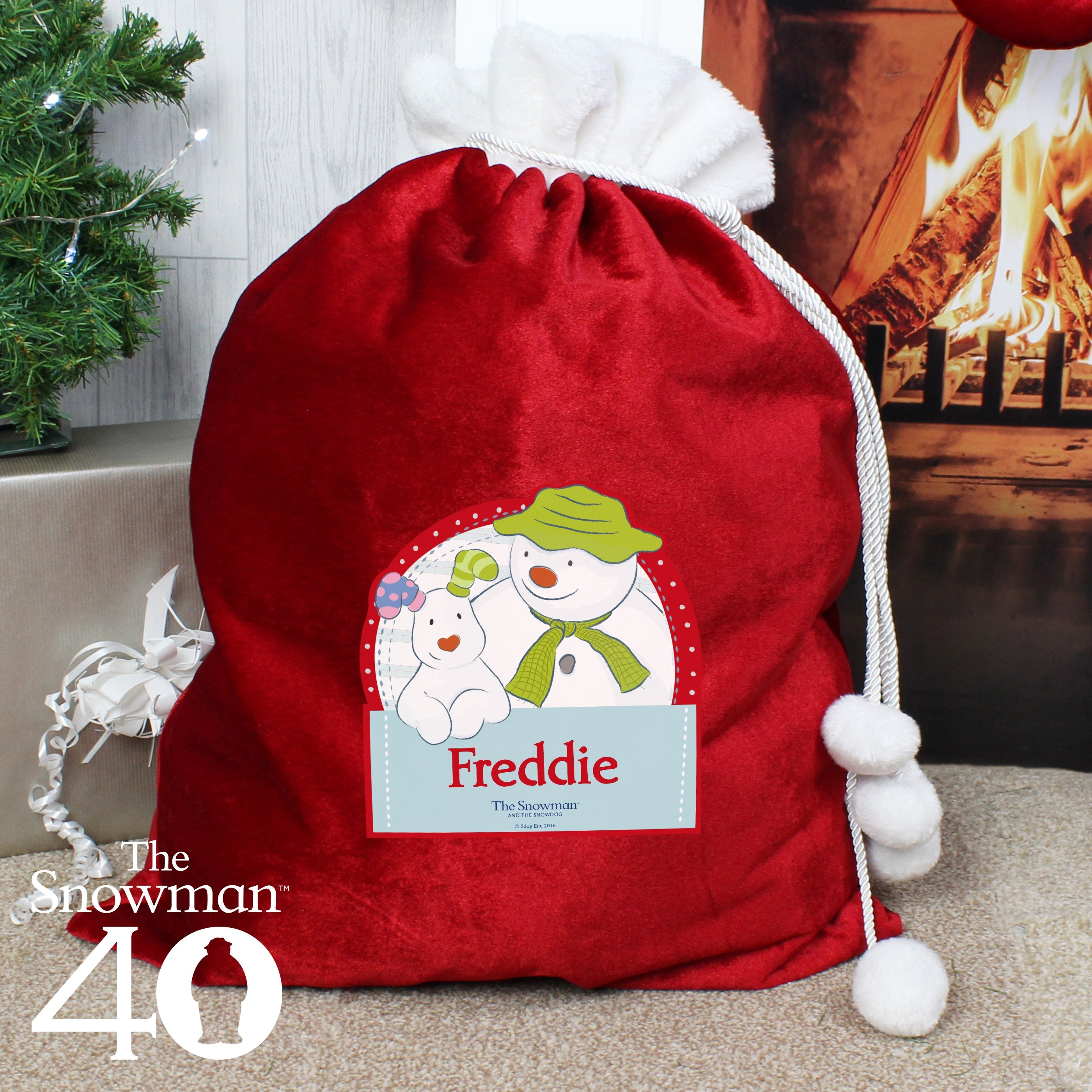 Personalised The Snowman and the Snowdog Christmas Luxury Pom Pom Sack - Shop Personalised Gifts