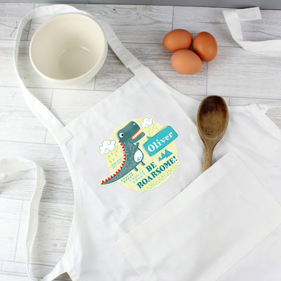 Personalised 'Be Roarsome' Dinosaur Children's Apron - Shop Personalised Gifts
