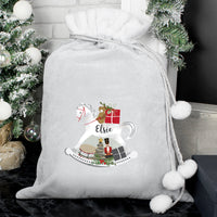 Personalised Christmas Rocking Horse Luxury Silver Grey Pom Pom Sack - Shop Personalised Gifts