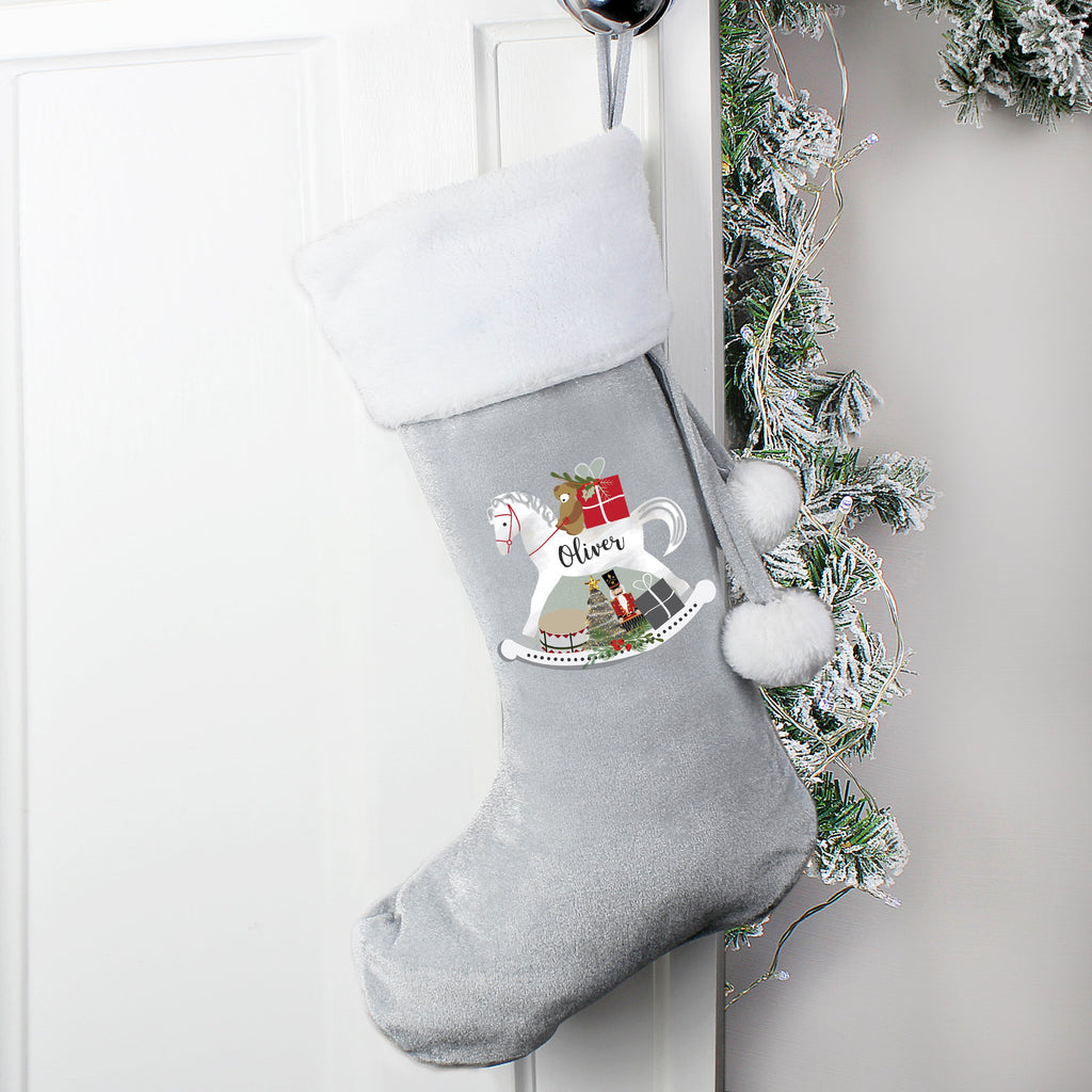 Personalised Rocking Horse Luxury Silver Grey Christmas Stocking - Shop Personalised Gifts