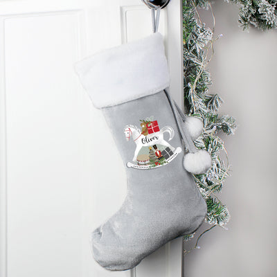Personalised Rocking Horse Luxury Silver Grey Christmas Stocking - Personalised Books-Personalised Gifts-Baby Gifts-Kids Books