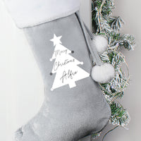 Personalised Christmas Tree Luxury Silver Grey Stocking - Shop Personalised Gifts