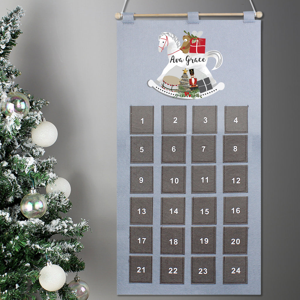 Personalised Felt Rocking Horse Advent Calendar In Silver Grey - shop-personalised-gifts