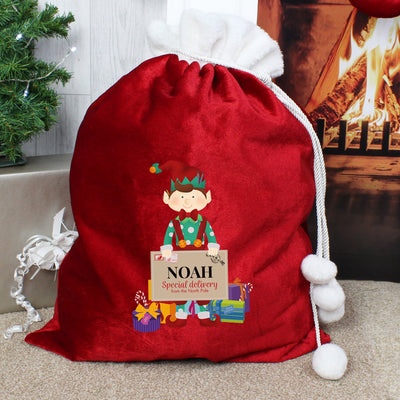Personalised Christmas Elf Luxury Pom Pom Sack - Personalised Books-Personalised Gifts-Baby Gifts-Kids Books