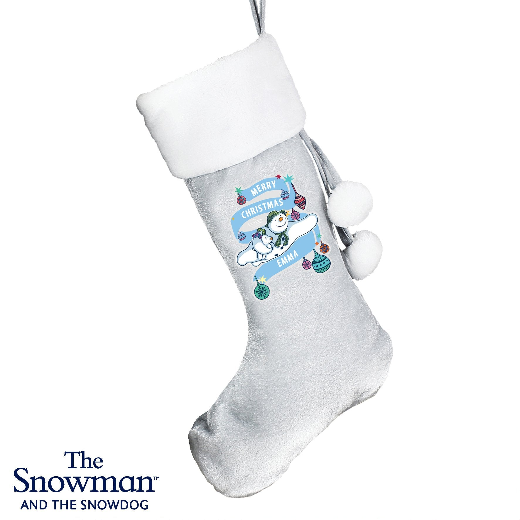 Personalised The Snowman and the Snowdog Luxury Silver Grey Stocking - Shop Personalised Gifts (4855548608598)