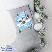 Personalised The Snowman and the Snowdog Luxury Silver Grey Stocking - Shop Personalised Gifts