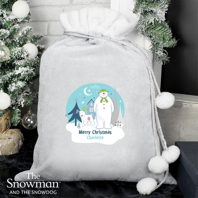Personalised The Snowman and the Snowdog Luxury Silver Grey Pom Pom Sack - Shop Personalised Gifts
