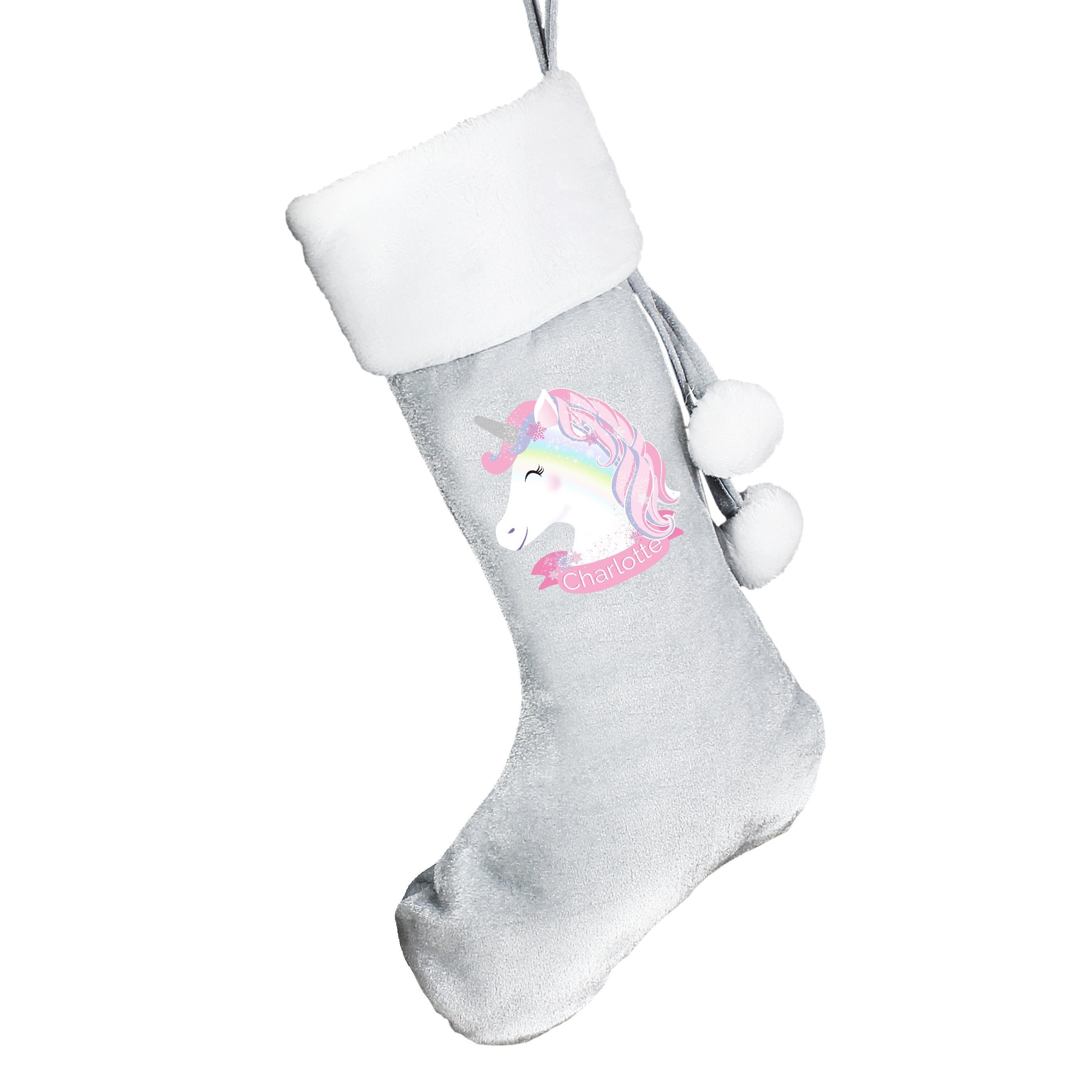 Personalised Unicorn Luxury Silver Grey Stocking - Shop Personalised Gifts