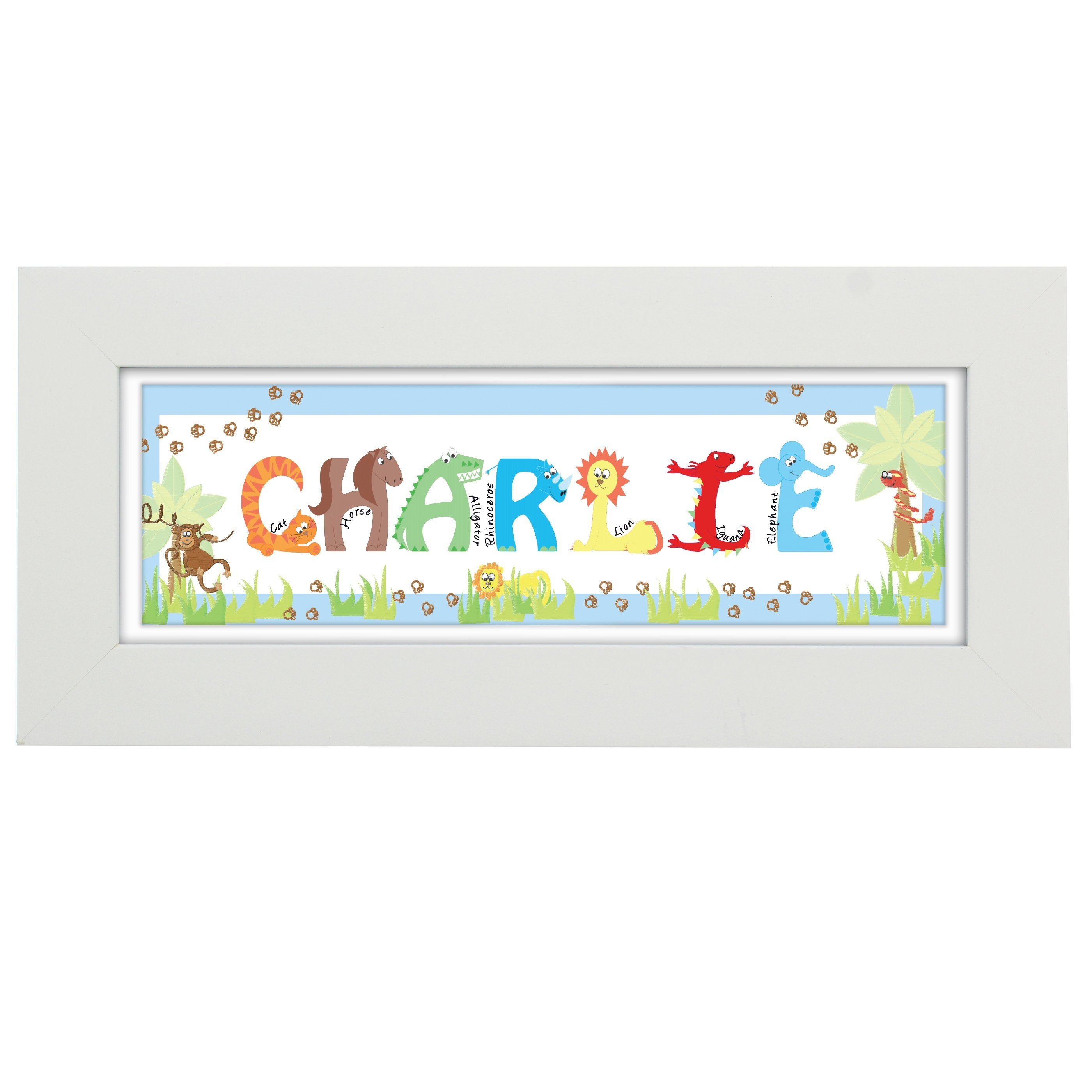 Personalised Blue Animal Alphabet Name Frame - Shop Personalised Gifts