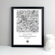 Personalised 1805 - 1874 Old Series Map Compass Black Framed Print - Shop Personalised Gifts