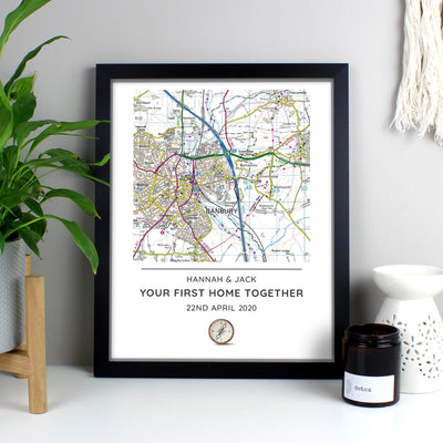 Personalised Present Day Map Compass Black Framed Print - Shop Personalised Gifts