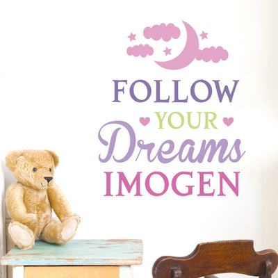 Personalised Follow Your Dreams Pink Wall Art - Shop Personalised Gifts